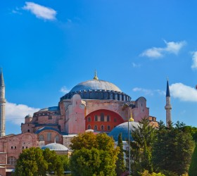 The Hagia Sophia is a domed monument built as a cathedral and is now a museum in Istanbul, Turkey. CREDIT: Tatiana Popova | Shutterstock