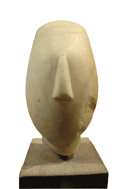 Head from the figure of a woman, Early Cycladic II (2700 BC - 2300 BC), Keros culture. Louvre Museum, Wikimedia Commons.