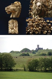 (Diana Gergova)The impressive gold artifacts found at a recently excavated mound (above) in the Sveshtari necropolis in Bulgaria include finely crafted jewelry with animal motifs including this horse head (top left) and dozens of appliqués of female figures (top right and bottom left), as well as 100 gold buttons (bottom right).