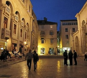 Diocletian's Palace can be quiet in winter evenings, but it's filled with bars that promise an active nightlife in the summer. (Amy Laughinghouse)
