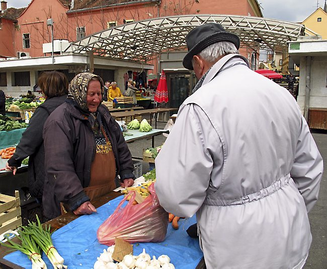 Locals come to Dulac Market in Zagreb for fresh fruit and vegetables. It's not considered polite to haggle over prices. (Amy Laughinghouse)