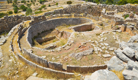The ruins of an acropolis in Greece that was built by the ancient Mycenaen culture, which flourished during the Bronze Age