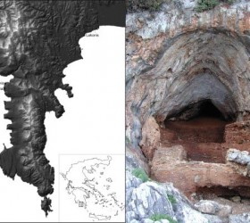 Map of Greece (left) showing the approximate position of Kalamakia cave (right, shown with excavated sediments) and other sites with human remains in the Mani peninsula.  Credit: Katerina Harvati et al.