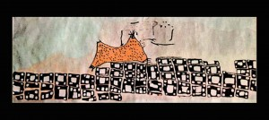 Rendering of a wall painting discovered at Shrine 14 during the original excavations of Çatalhöyük by British archaeologist James Mellaart in the 1960s and said to depict Hasan Dagi erupting. Image: John Swogger (Flickr, used under a CC BY-NC 3.0)