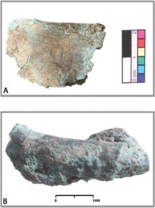 Fifth millennium BC tin bronze artefacts from Vinca culture sites in Serbia: (A) tin bronze foil from Plocnik, securely dated to c. 4650 BC; (B) tin bronze ring from Gomolava, tentatively dated to the mid fifth millennium BC