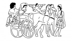 Fig. 1: Main scene of a red-figure pyxis representing a wedding procession on a two-wheeled cart drawn by horses, National Museum of Athen
