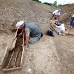 Archaeologists work at the Viminacium site