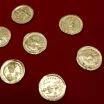 View of golden coins uncovered by Serbian archaeologists at the Viminacium site